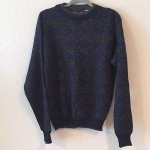 Vintage Geometric Print Wool Blend Grandpa Sweater